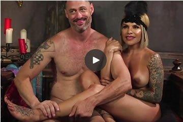Blonde tranny dominates her slave