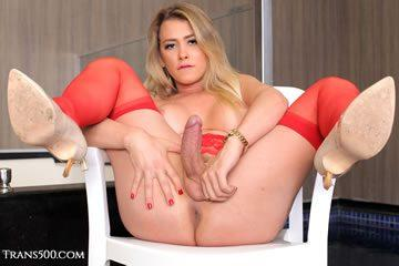 Leticia Rodrigues - blonde in red lingerie